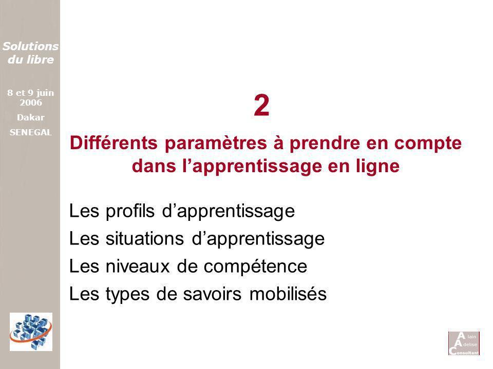 2 Différents paramètres à prendre en compte dans l'apprentissage en ligne. Les profils d'apprentissage.