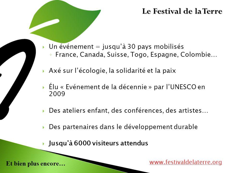 Le Festival de la Terre Un événement = jusqu'à 30 pays mobilisés
