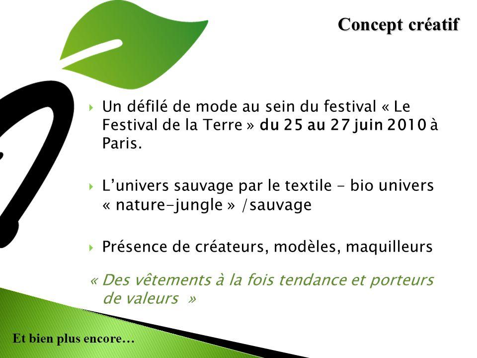 Concept créatif Un défilé de mode au sein du festival « Le Festival de la Terre » du 25 au 27 juin 2010 à Paris.
