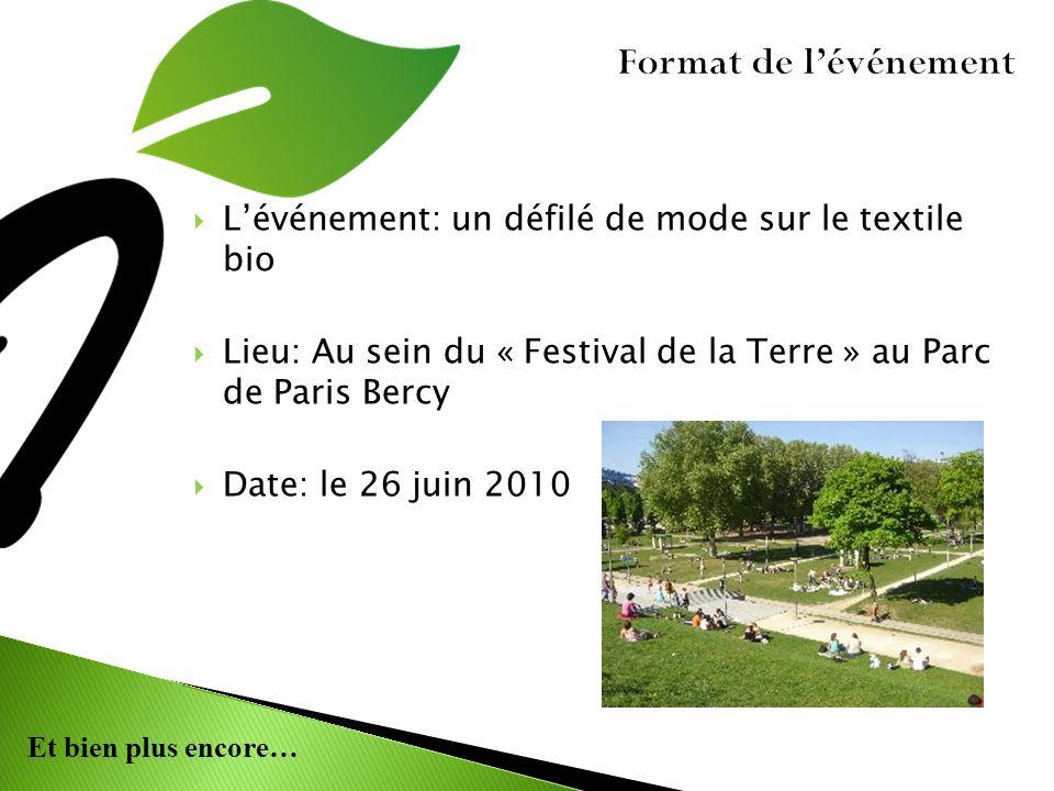 Format de l'événement L'événement: un défilé de mode sur le textile bio. Lieu: Au sein du « Festival de la Terre » au Parc de Paris Bercy.