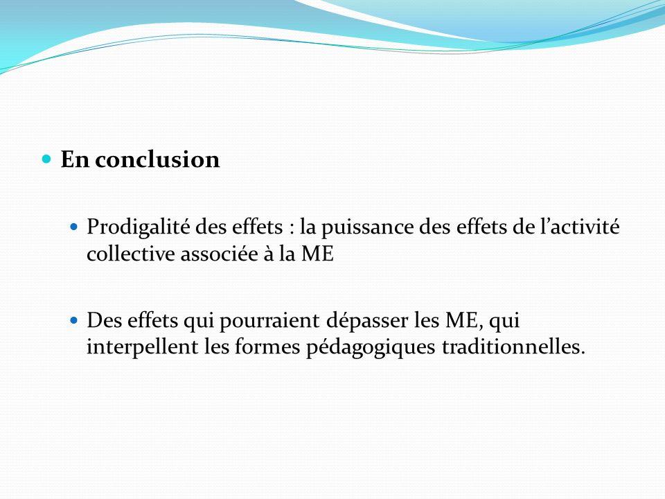 En conclusion Prodigalité des effets : la puissance des effets de l'activité collective associée à la ME.