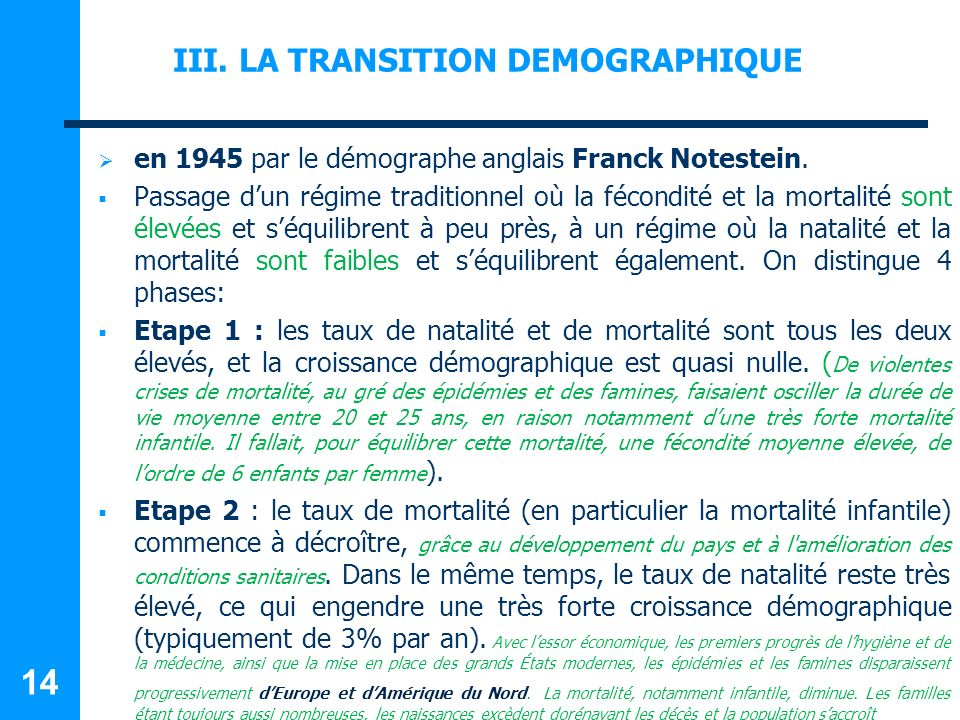 III. LA TRANSITION DEMOGRAPHIQUE
