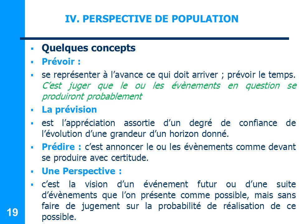 IV. PERSPECTIVE DE POPULATION