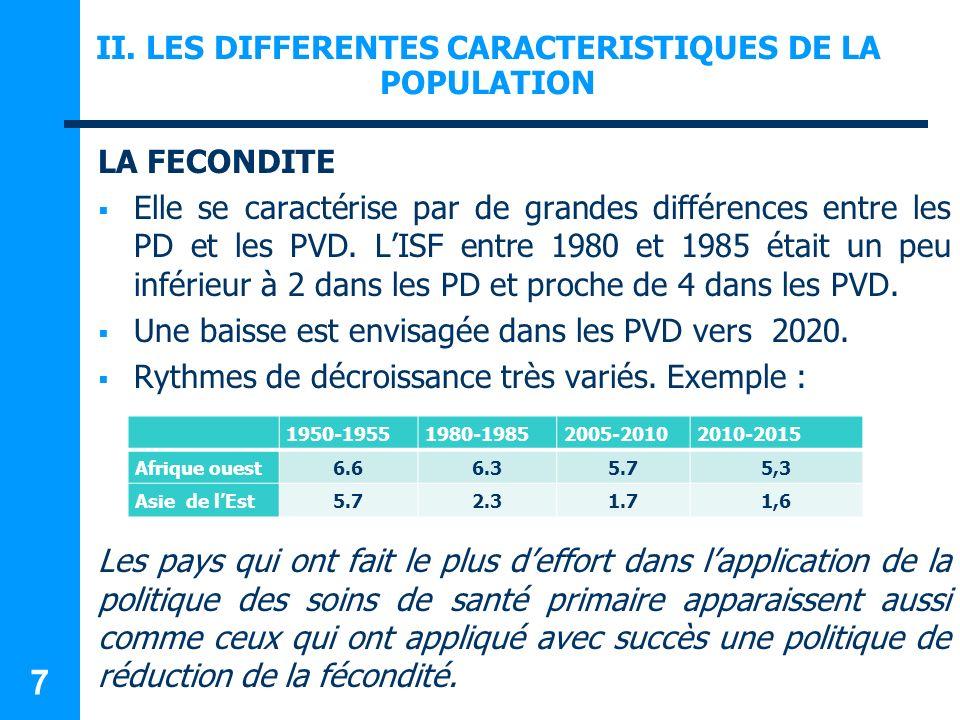 II. LES DIFFERENTES CARACTERISTIQUES DE LA POPULATION