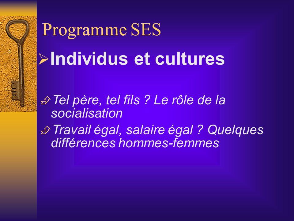 Programme Programme SES Individus et cultures
