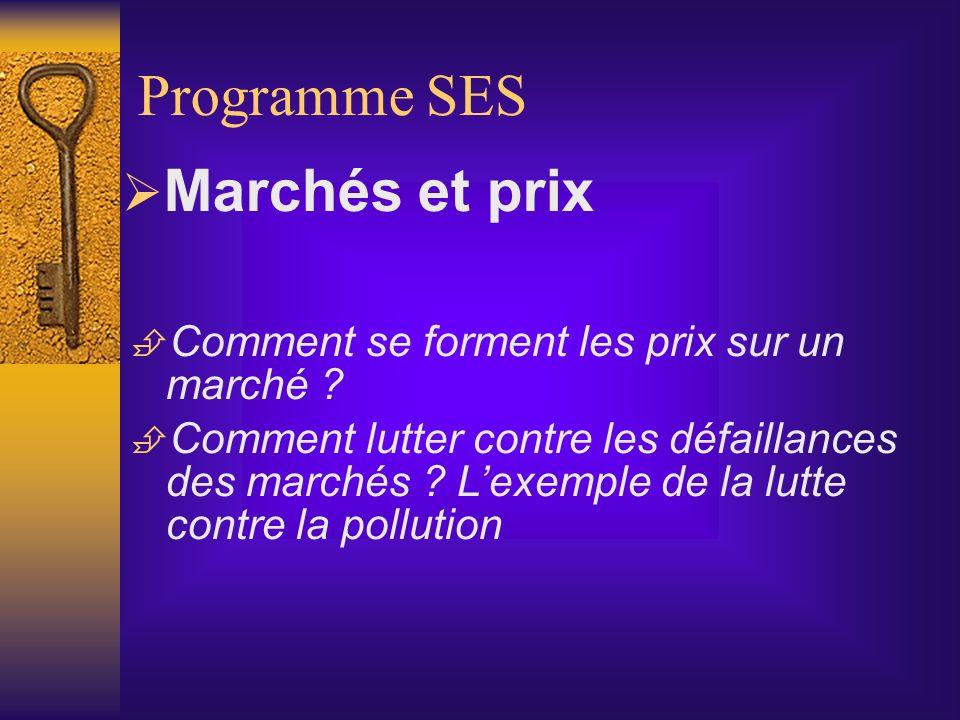 Programme SES Marchés et prix