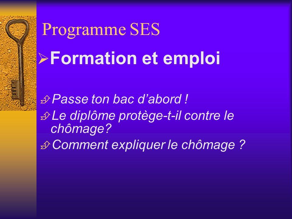 Programme Programme SES Formation et emploi Passe ton bac d'abord !