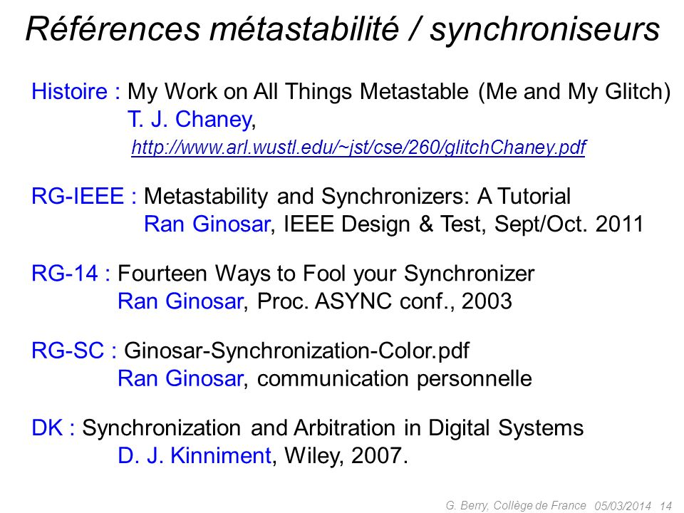 Références métastabilité / synchroniseurs