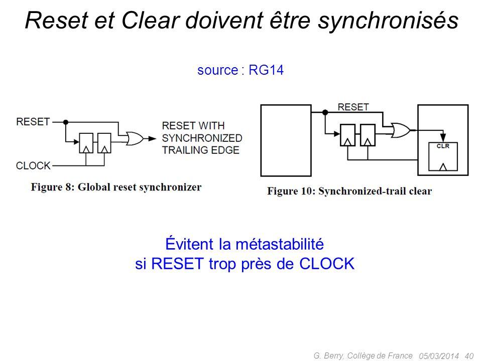 Reset et Clear doivent être synchronisés