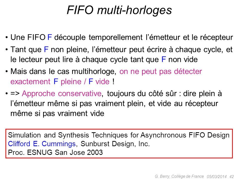 FIFO multi-horloges Une FIFO F découple temporellement l'émetteur et le récepteur.