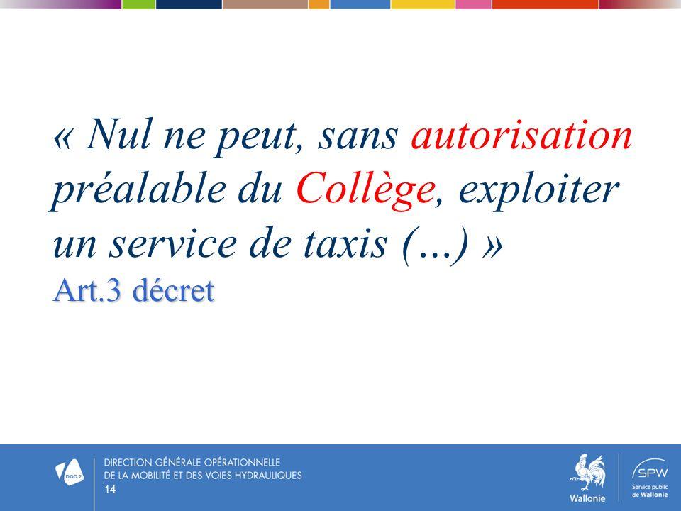 « Nul ne peut, sans autorisation préalable du Collège, exploiter un service de taxis (…) »