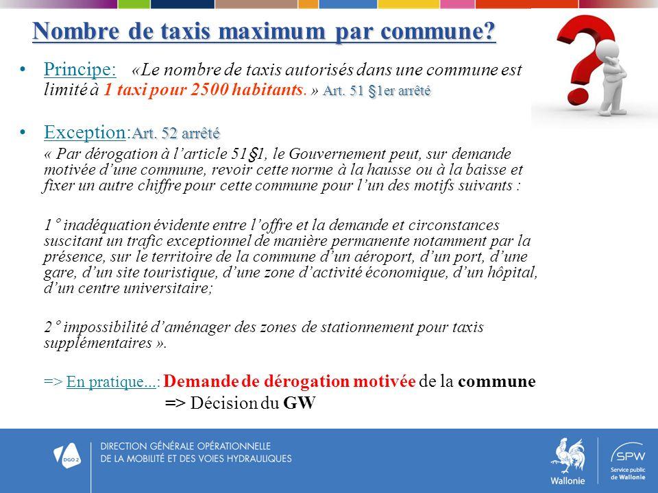 Nombre de taxis maximum par commune