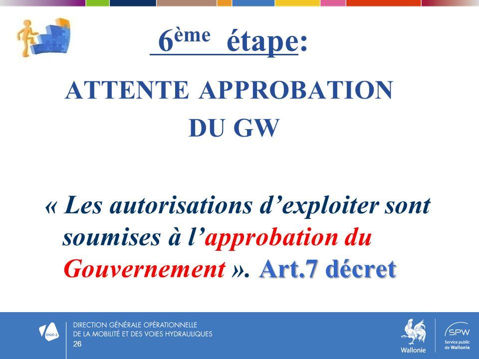 6ème étape: ATTENTE APPROBATION DU GW « Les autorisations d'exploiter sont soumises à l'approbation du Gouvernement ». Art.7 décret