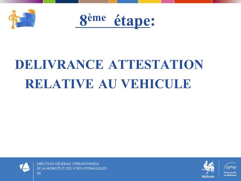 8ème étape: DELIVRANCE ATTESTATION RELATIVE AU VEHICULE 31