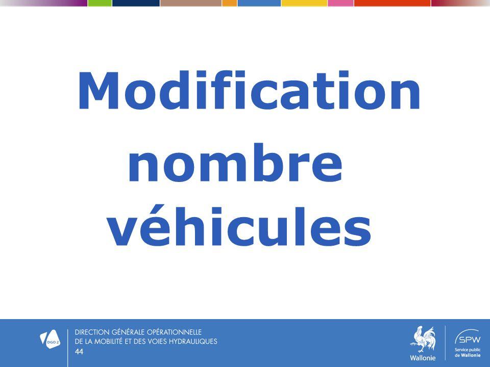 Modification nombre véhicules