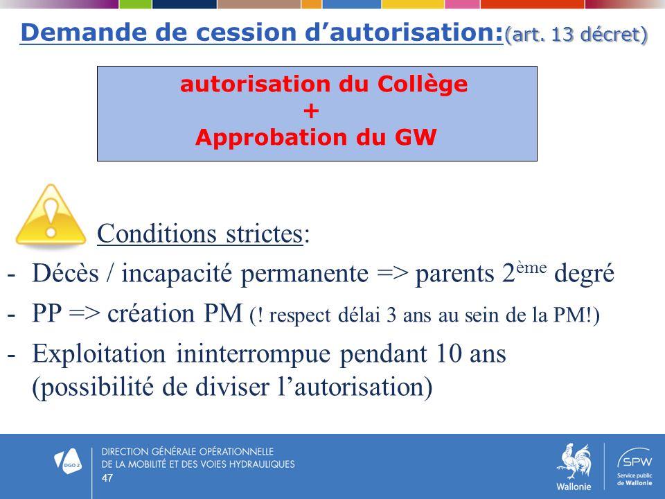 Demande de cession d'autorisation:(art. 13 décret)
