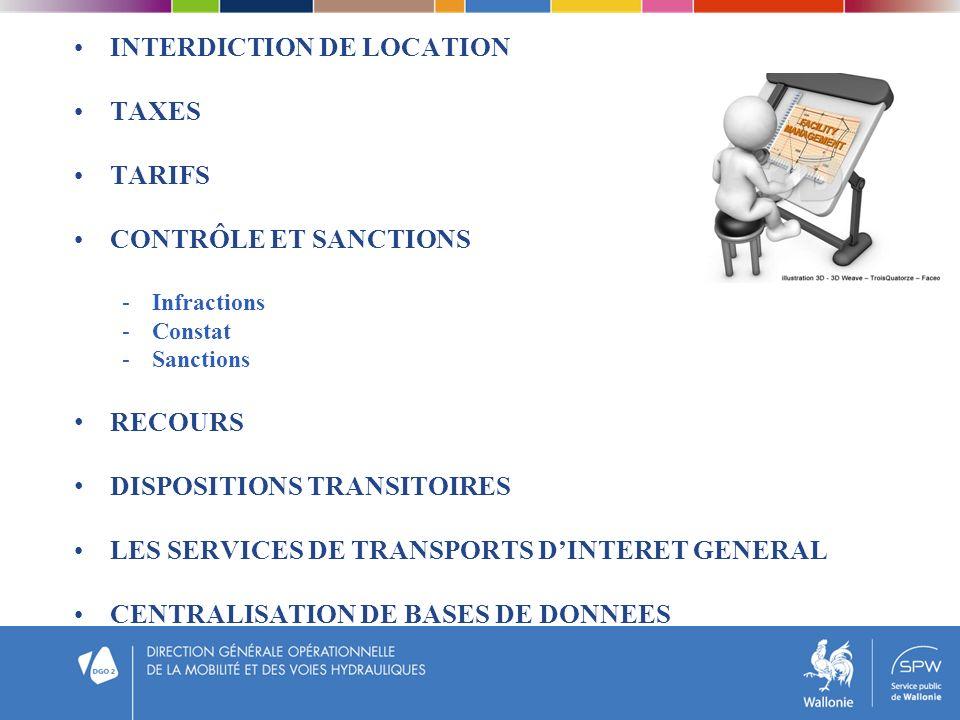INTERDICTION DE LOCATION TAXES TARIFS CONTRÔLE ET SANCTIONS