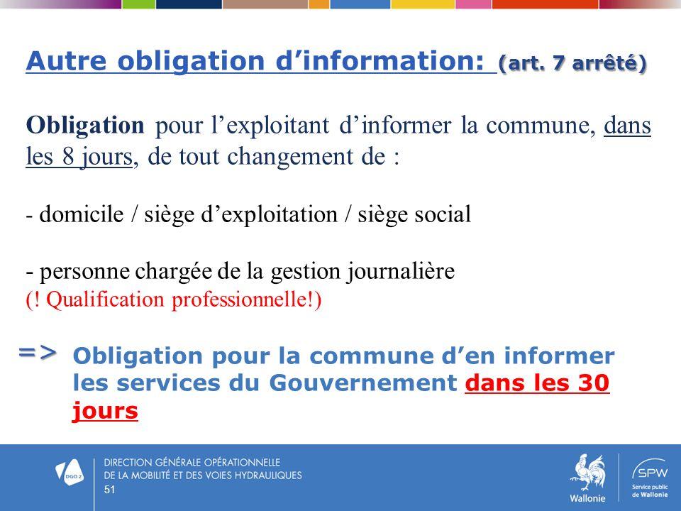 Autre obligation d'information: (art