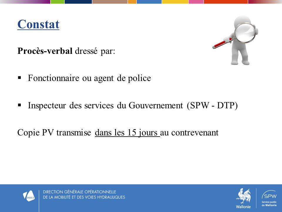Constat Procès-verbal dressé par: Fonctionnaire ou agent de police