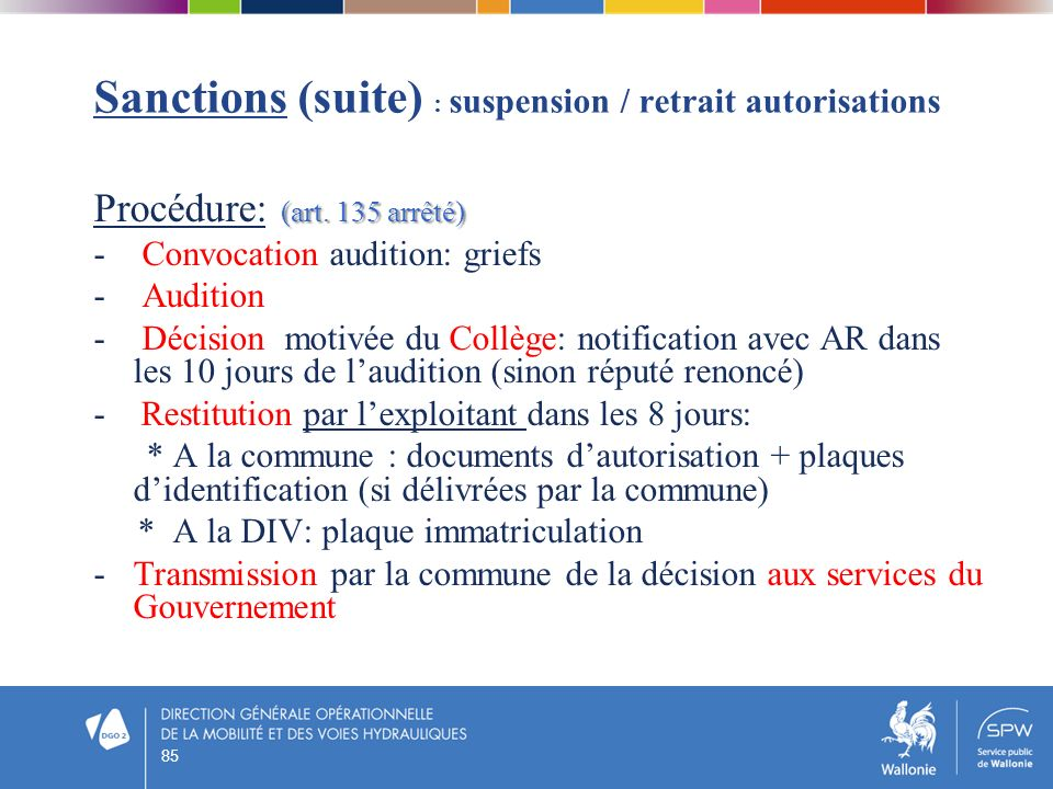 Sanctions (suite) : suspension / retrait autorisations