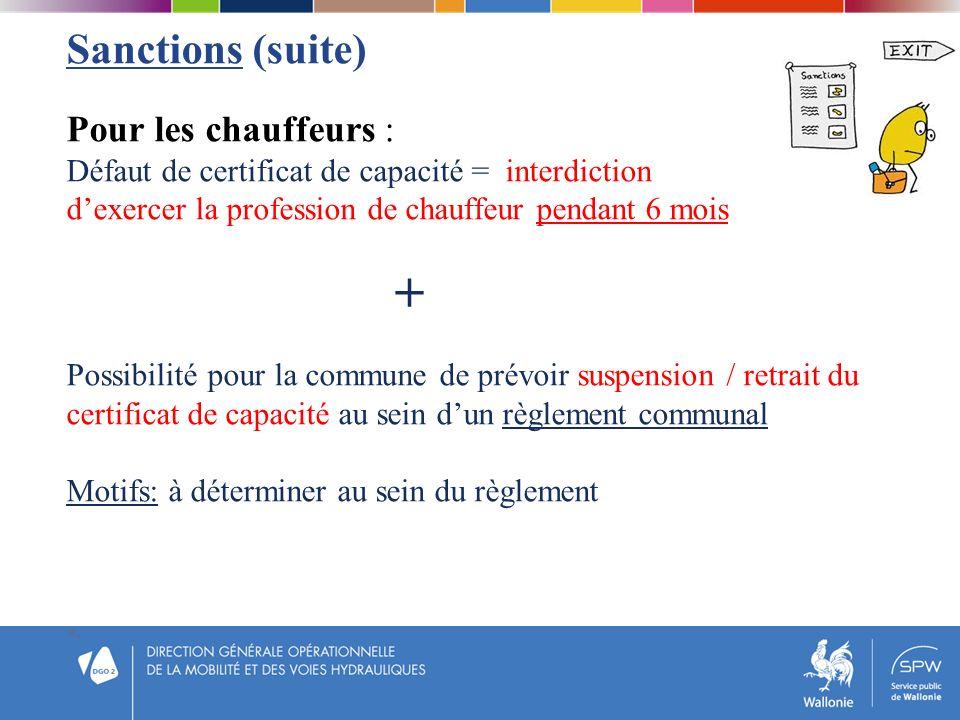 Sanctions (suite) Pour les chauffeurs :