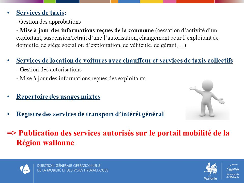 Services de taxis: - Gestion des approbations.