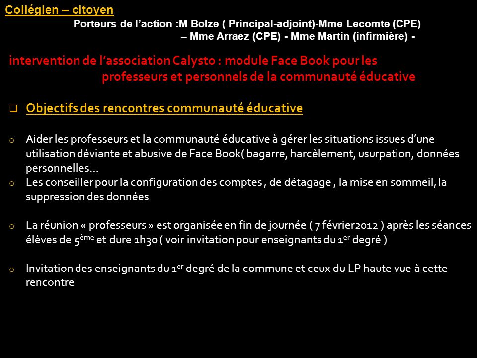 intervention de l'association Calysto : module Face Book pour les