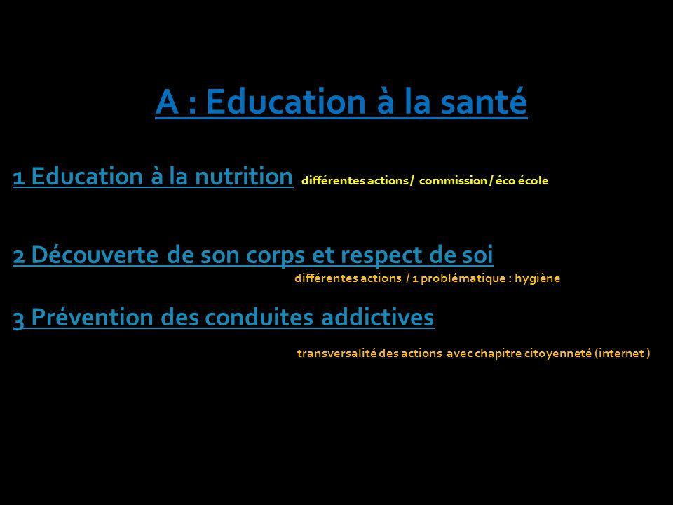 A : Education à la santé 1 Education à la nutrition différentes actions / commission / éco école.