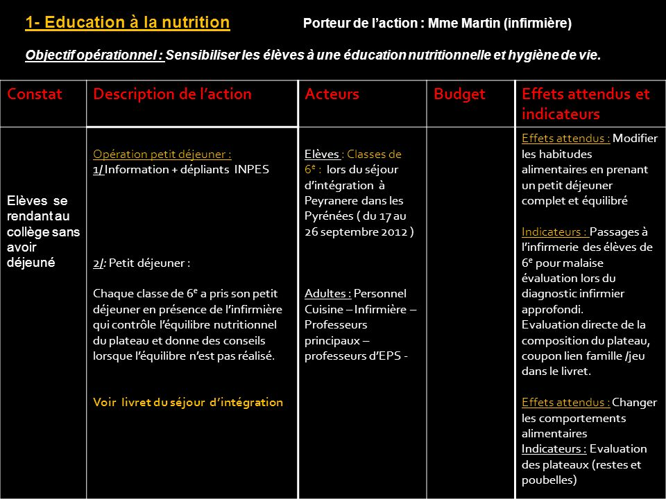 Description de l'action Acteurs Budget Effets attendus et indicateurs