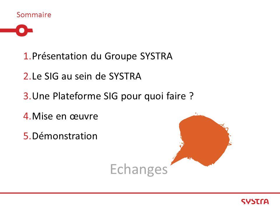 Echanges Présentation du Groupe SYSTRA Le SIG au sein de SYSTRA