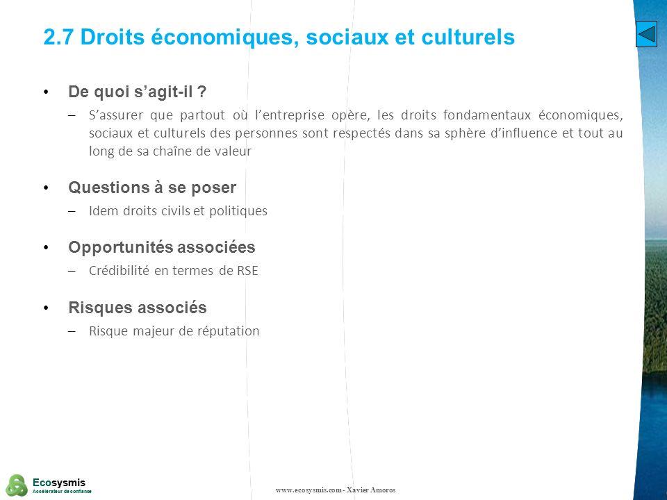 2.7 Droits économiques, sociaux et culturels