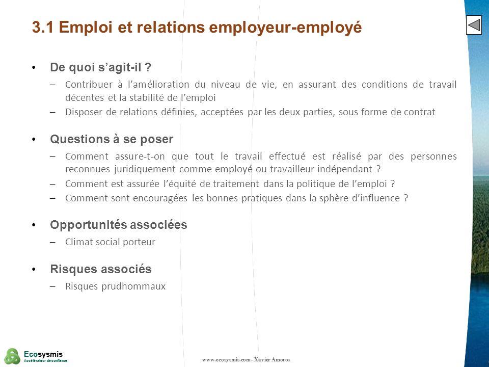 3.1 Emploi et relations employeur-employé
