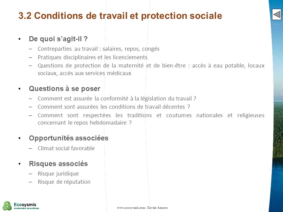 3.2 Conditions de travail et protection sociale