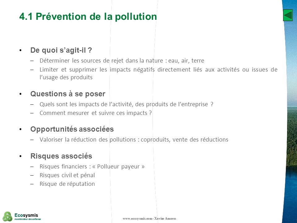 4.1 Prévention de la pollution