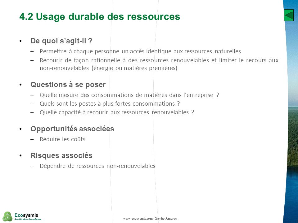4.2 Usage durable des ressources