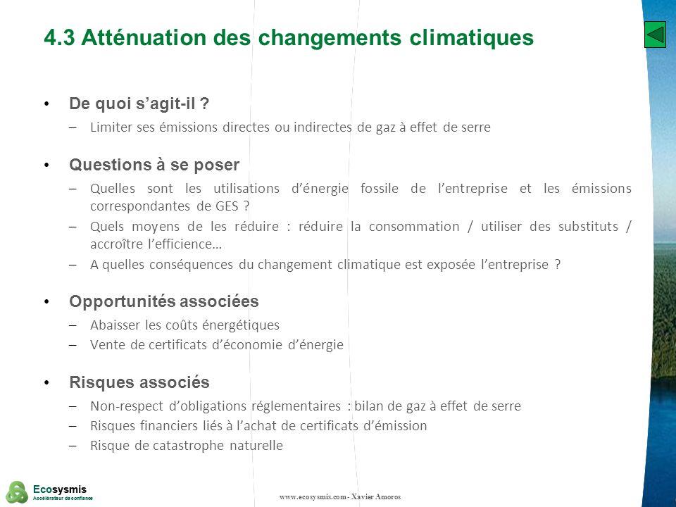 4.3 Atténuation des changements climatiques