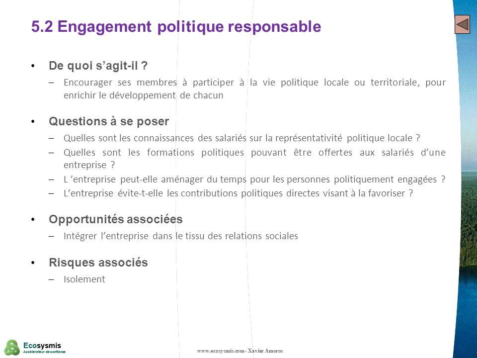 5.2 Engagement politique responsable