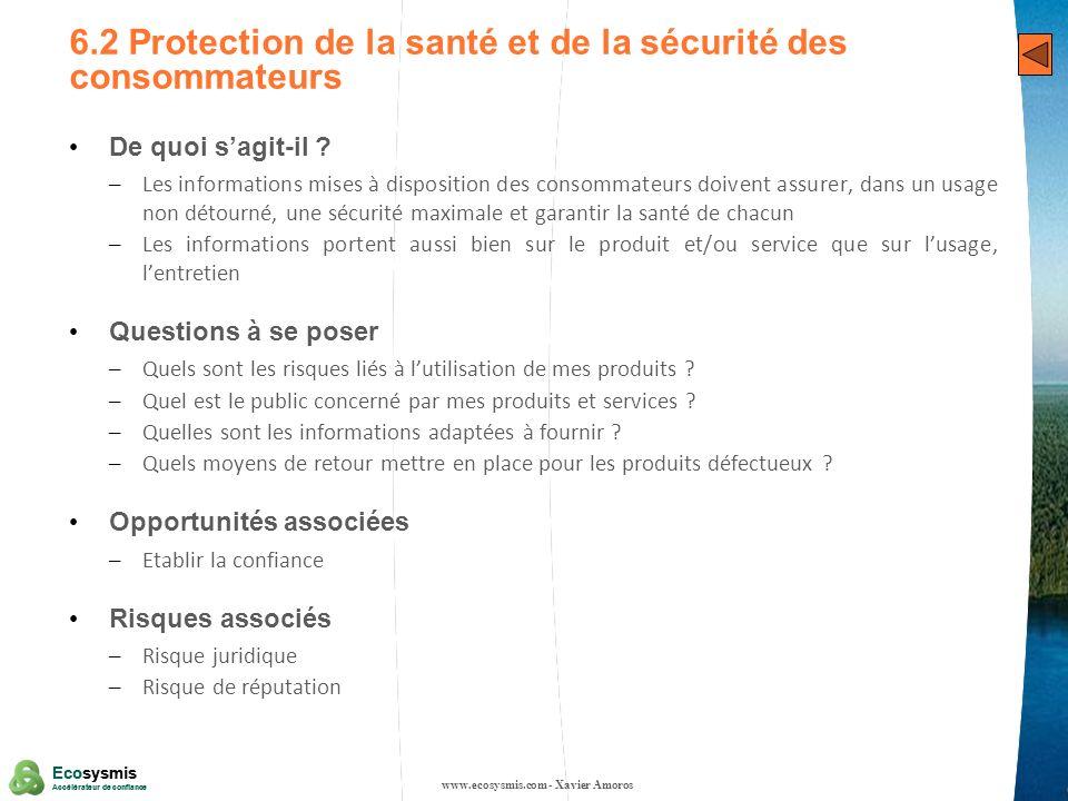 6.2 Protection de la santé et de la sécurité des consommateurs