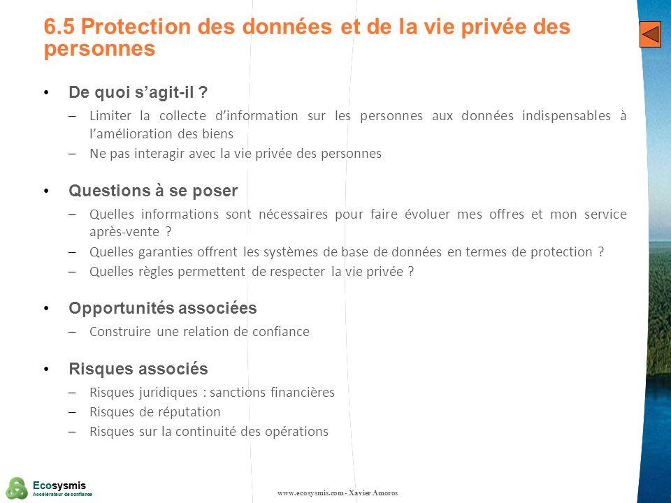 6.5 Protection des données et de la vie privée des personnes