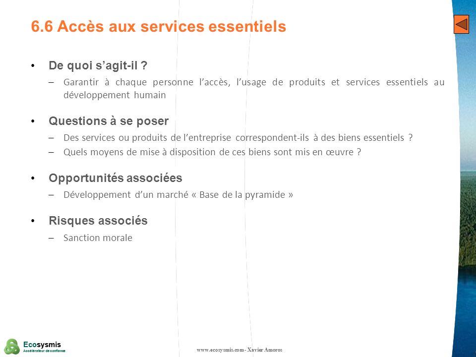 6.6 Accès aux services essentiels