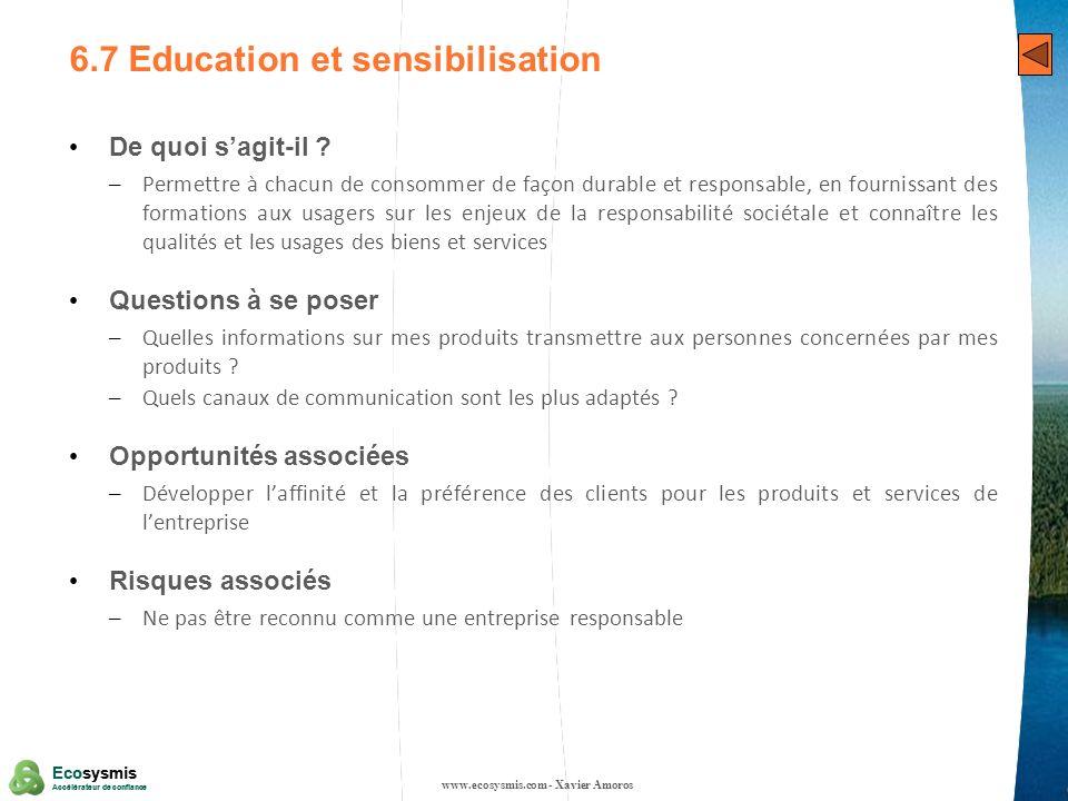 6.7 Education et sensibilisation