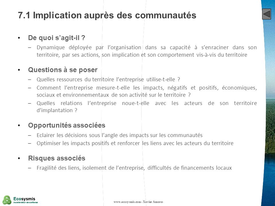 7.1 Implication auprès des communautés