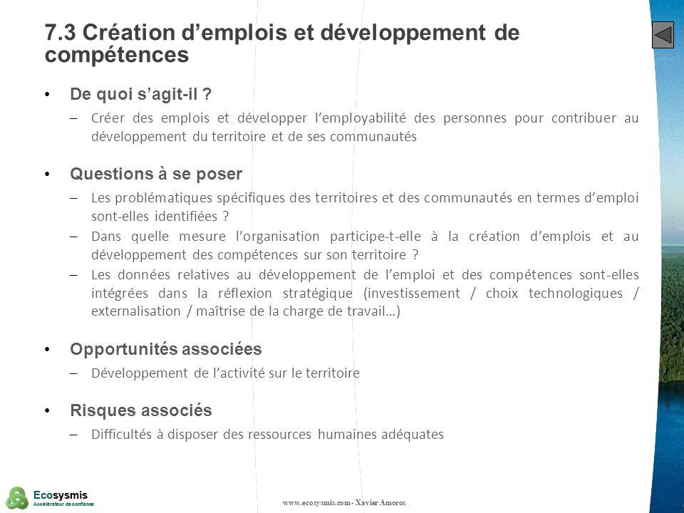 7.3 Création d'emplois et développement de compétences