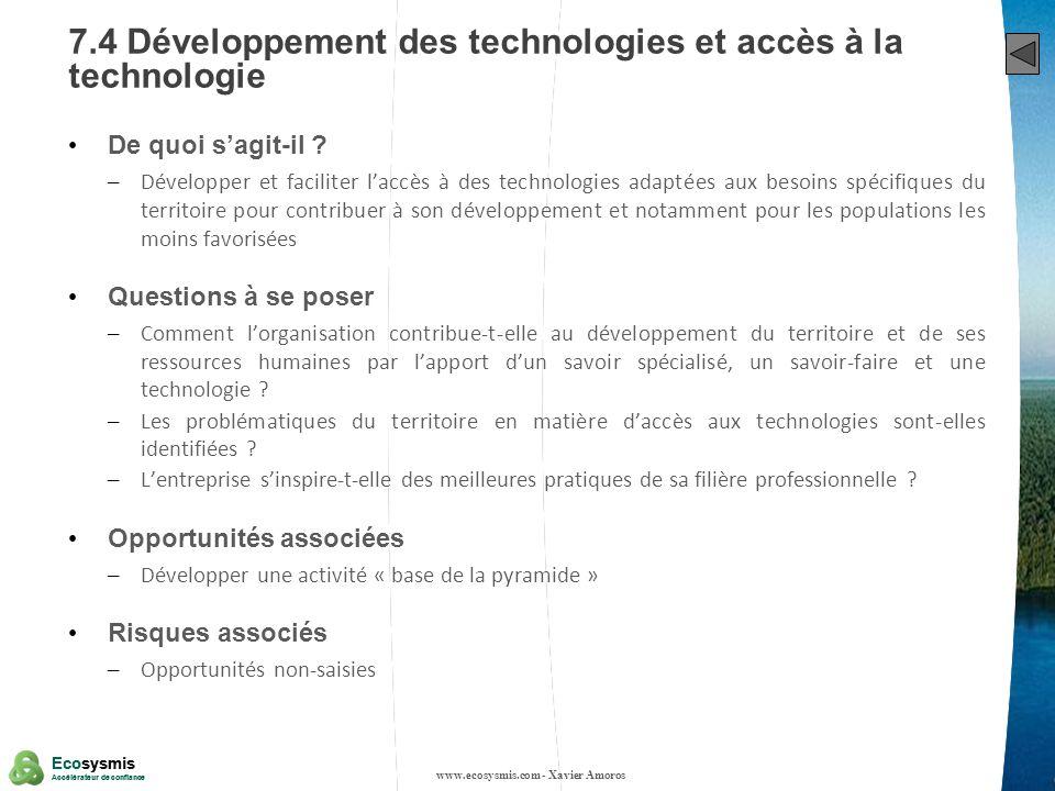 7.4 Développement des technologies et accès à la technologie