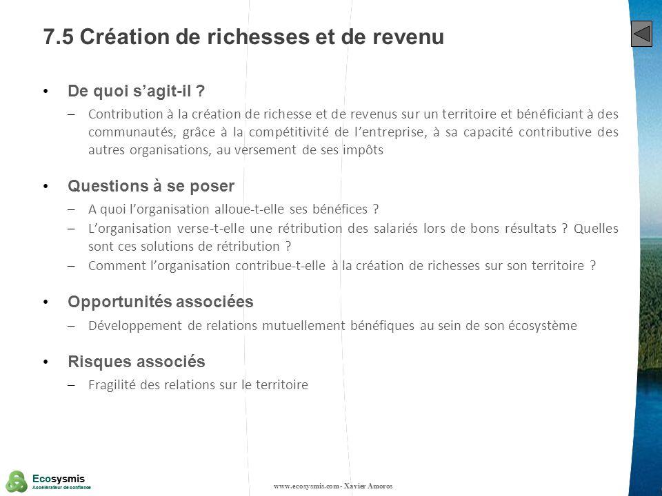 7.5 Création de richesses et de revenu