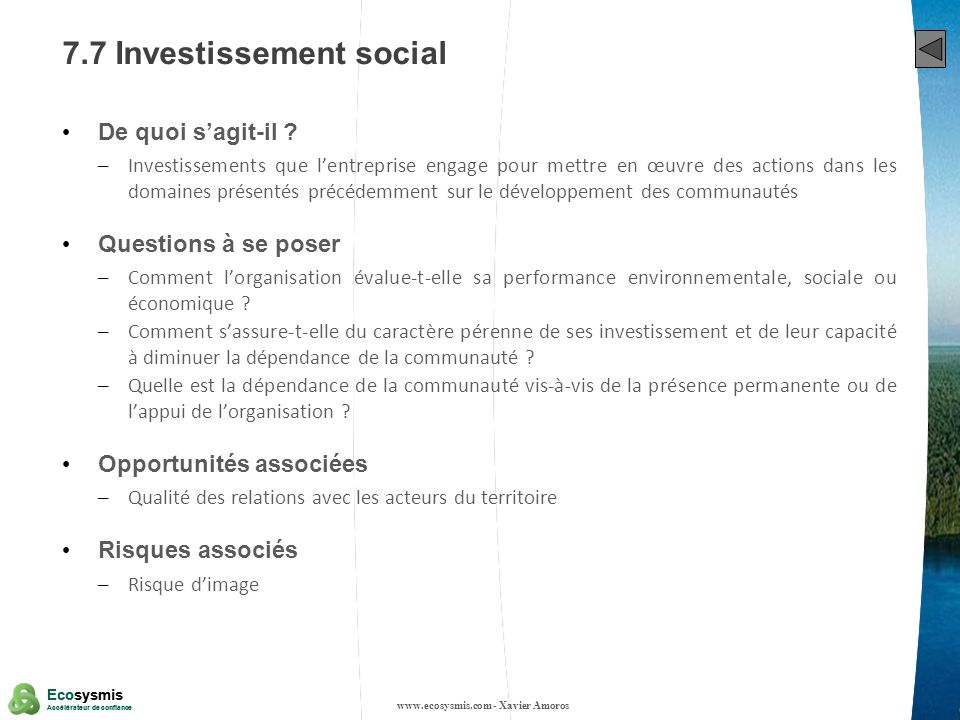 7.7 Investissement social