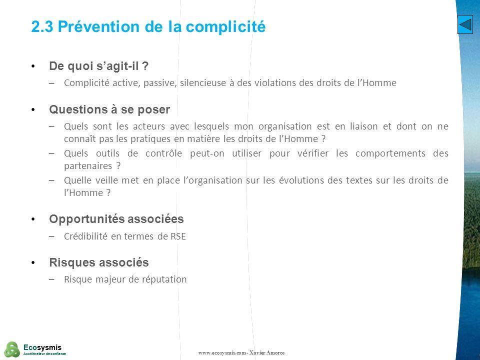 2.3 Prévention de la complicité