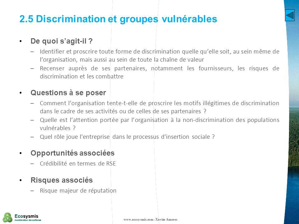 2.5 Discrimination et groupes vulnérables