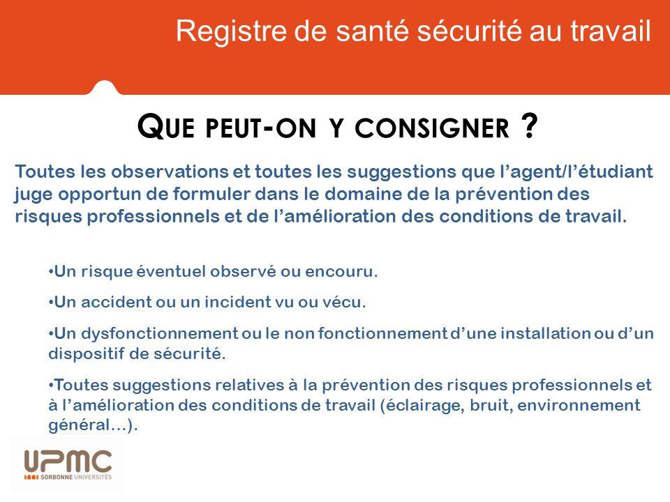 Registre de santé sécurité au travail