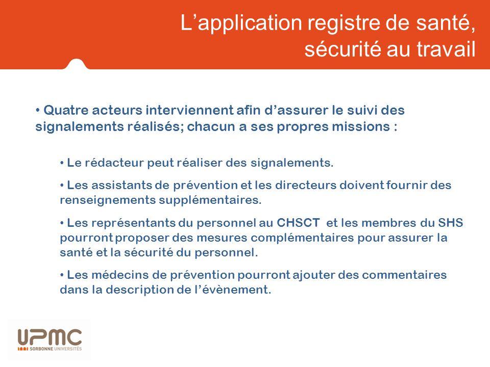 L'application registre de santé, sécurité au travail